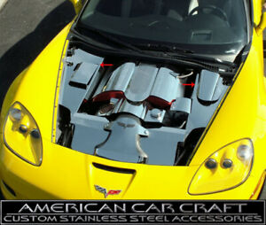 2006 12 Corvette Z06 Polished Inner Fender Covers Engine Compartment 4pc Set