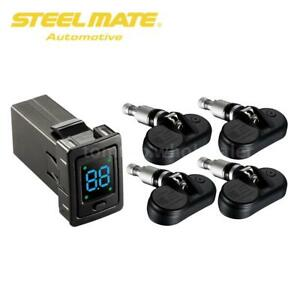 For Toyota Steelmate 4 Sensor Wireless Tpms Tire Pressure Monitor System Lcd