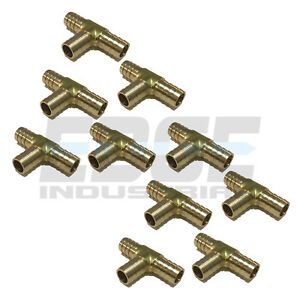 10 Pieces 5 8 Hose Barb Tee Brass Pipe 3 Way T Fitting Gas Fuel Water Air