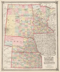 1875 County Map Of Kansas Nebraska Dakota And Minnesota