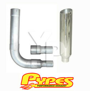 8 Slant Cut Single Stack Stainless Pypes Exhaust Kit For Chevy 2500 3500 Diesel