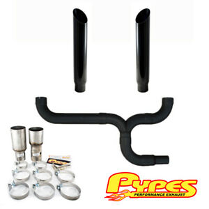 6 Miter Cut Black Double Stack Stainless Pypes Exhaust Kit For Chevy 2500 3500
