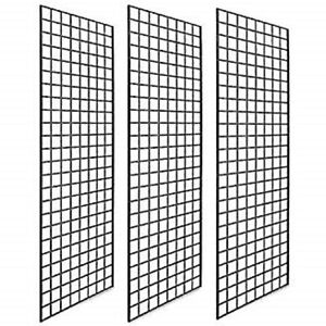 Pack Of 3 Gridwall Panels 2x4 Black Color