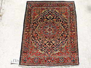 2x3ft Antique Persian Medallion Sarouk Wool Rug
