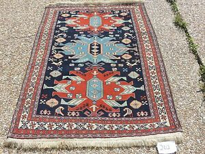 4x5ft Striking Handmade Geometric Caucasian Shirvan Wool Rug