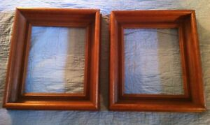 Antique Deep Well Walnut Wood Frames Lot Of 2