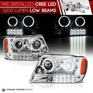 built in Led Low Beam 99 04 Jeep Grand Cherokee Wj Projector Chrome Headlight
