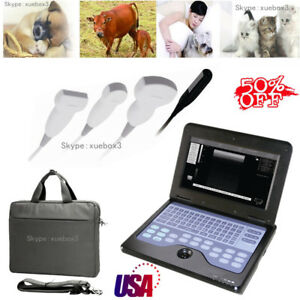 10 1 Inch Portable Vet veterinary Ultrasound Scanner Machine 2 Probe For Animals
