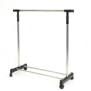 Rolling Rack Garment Clothing Collapsible Stainless Steel Adjustable Chrome New