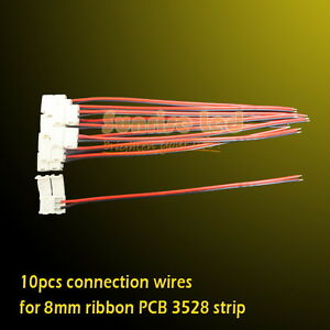 10pcs Connector Wires For Led Strip 3528 Single Color 8mm Ribbon Pcb No Welding