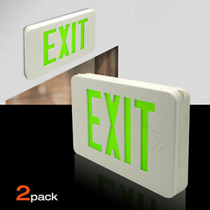 Led Emergency Exit Light Sign Modern Battery Backup Fd3wr 2pcs green
