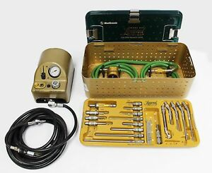 Complete Medtronic Midas Rex Legend Pneumatic V03 Drill Set With 18 Attachments