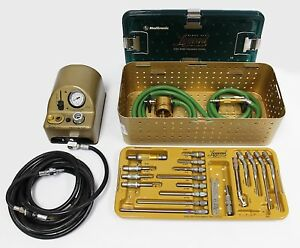 Complete Medtronic Midas Rex Legend Pneumatic V04 Drill Set With 18 Attachments