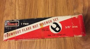 Snap on 7 Piece Crowfoot Flare Nut Wrench Set W Box