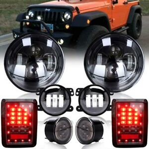7 Led Headlight Fog Turn Signal Lamp Tail Light Fit 07 17 Jeep Jk Wrangler