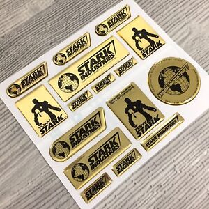 15pc Iron Man Stark Industries Tony Gold Chrome 3d Resin Domed Decal Stickers