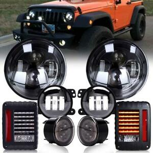 7 Led Headlight fog turn Signal Tail Light Kit For Jeep Wrangler Jk 07 17