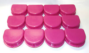 12 Dental Orthodontic Retainer Denture Mouth Guard Case Bleach Cranberry