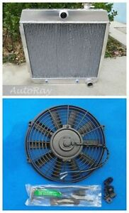 Aluminum Radiator For Ford Chevy Bel Air W Cooler V8 55 56 57 14 Inch Fan 3 Row