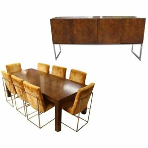 Mid Century Modern Milo Baughman Dining Set Table 8 Chairs Sideboard Credenza