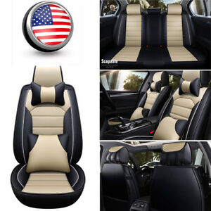 Universal Car Seats Covers Front rear Full Set Leather Cushion W pillows Beige