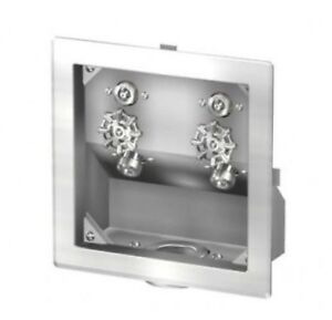 Acorn Hot Cold Stainless Steel Recessed Hose Box With Waste Outlet 8186