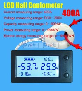 Battery Monitor Dc 300v 400a Digital Hall Coulombmeter Volt Ammeter Power Meter
