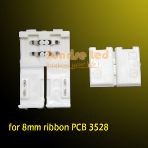10pcs Easy Connectors For Led Strip 3528 Single Color 8mm Pcb Ribbon No Welding
