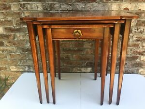 Statton Oldtowne Solid Cherry Nesting Tables 1972