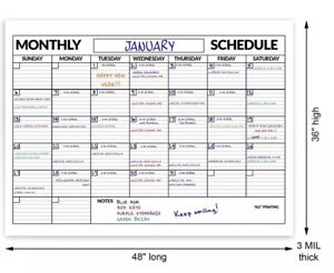 Large Dry Erase Poster Board Wall Laminated Monthly Calendar Planner 36 X 48 new