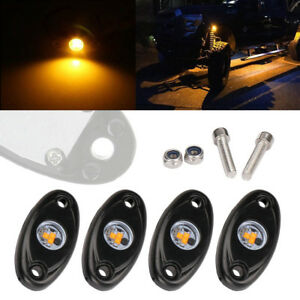 4x 9w Yellow Led Rock Light For Jeep Offroad Truck Under Body Trail Rig Lamp