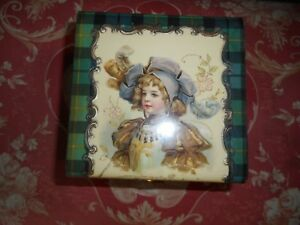 Antique Plaid Tartan Victorian Collar Trinket Jewelry Box Doll French Celluloid