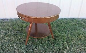 Retro Mid Century Modern Round Drum Lamp Table With Drawer By Mersman Signed