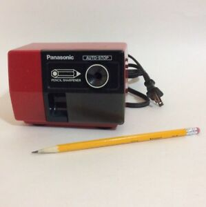 Panasonic Kp 123 Red Electric Pencil Sharpener Auto stop Works Great Vintage