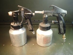 2 Piece Lot Of Campbell hausfield Hvlp Paint Sprayer Guns W Aluminum Quart Pots