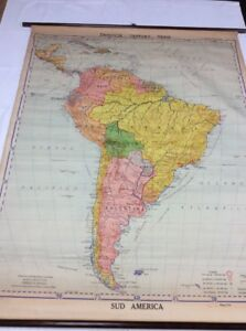 Vintage Denoyer Geppert Sud South America Mexico Spanish Pull Down Map 854s