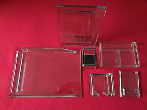 Deluxe 3 8 Thick Glass Desk Accessories Set Of 6
