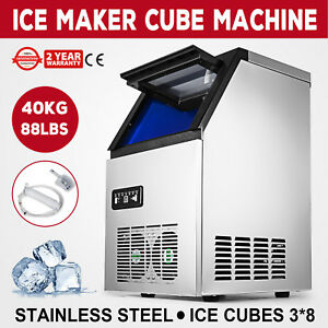Stainless Steel 90lb Free standing Ice Machine Compact Automatic Cube Maker