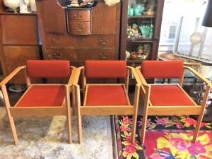 3 Vintage Kimball Mid Century Oak Stacking Dining Arm Office Chairs Danish Style