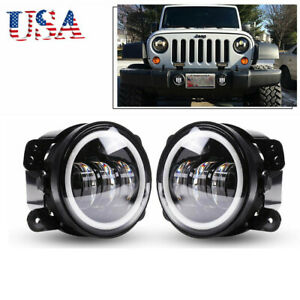 2x 4inch 60w Round Led Fog Light Driving Working Off Road Lamp For Jeep Jk Jku