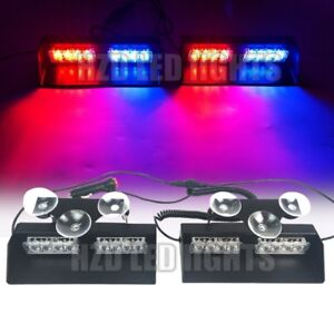 2in1 16 W Led Windshield Dash Beacon Vehicle Flashing Strobe Lights Red Blue