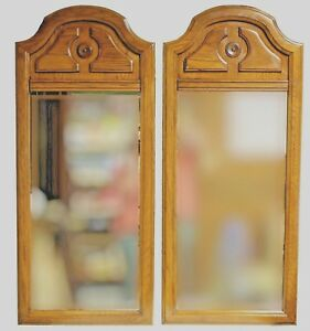 Vintage Oak Art Deco Style Panel Wall Mirror C 1972