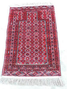 3x5ft Vintage Turkoman Wool Prayer Rug