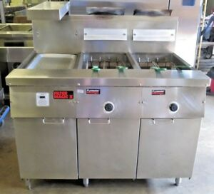 Frymaster Fm235se 2 Bay Gas Deep Fryer W filter Magic Heated Holding Bay