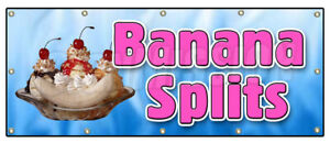 Banana Splits Banner Sign Ice Cream Sundae Soda Cone Homemade Creamy Dessert