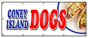 Coney Island Dogs Banner Sign All Beef Chili Grilled Sauerkraut Drinks