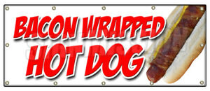 Bacon Wrapped Hot Dog Banner Sign Texas Tommy Cheese Deep Fried Stick