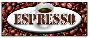Espresso Banner Sign Coffee Shop Cafe Beans Cappuccino Hot Bar Latte