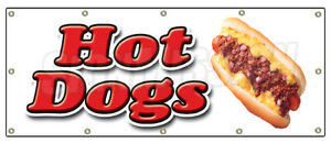 Hot Dog Banner Sign Hot Dogs Cart Chicago Wiener Franks Chili Red Hot