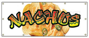48 x120 Nachos Banner Sign Cheese Chips Cart Stand Signs Mexican Food Tex Mex